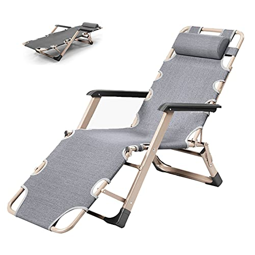 Reclining Chair Folding Zero Gravity Lounge Chair, Deck Chairs with Cotton Cushion for Garden Outdoor Patio Sun Loungers Bed Recliner with Head Pillow