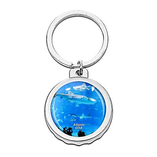 Hqiyaols Keychain USA Amerika Georgia Aquarium Atlanta Cap Flaschenöffner Schlüsselbund Creative Kristall Rostfreier Stahl Schlüsselbund Reisen Andenken