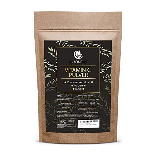 Vitamin C Pulver hochdosiert 500g Premium: Calciumascorbat aus pflanzlicher Fermentation & gepuffert (pH-neutral, säurefrei und magenschonend) - Laborgeprüft - Vegan - Ohne unerwünschte Zusätze