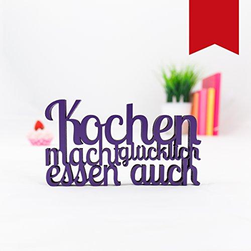 KLEINLAUT 3D-Schriftzug Kochen Macht glücklich in Größe: 10 x 5,6...