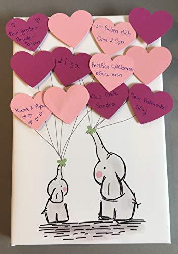 Elefant Leinwand Herzen ideales Geschenk, Gästebuch, Erinnerung, Deko, Idee, Andenken zur Geburt,...