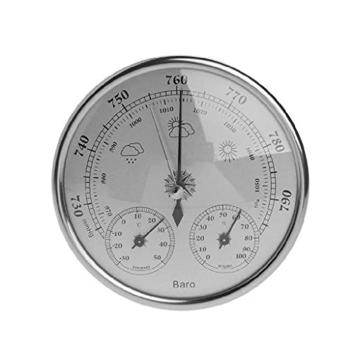 diubcucy 130 mm Luftdruck Temperatur Hygrometer Wetterstation 3-in-1 Barometer Film Metall Box Barometer