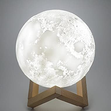[2018 Upgrade] 3D Printed Moon Lamp, Hanging 3 Colors Changing Tap Control Lunar Moon Light Lamps, 5.9 inch Soft Light Rechargeable Home Decorative Night Light with Wooden Stand