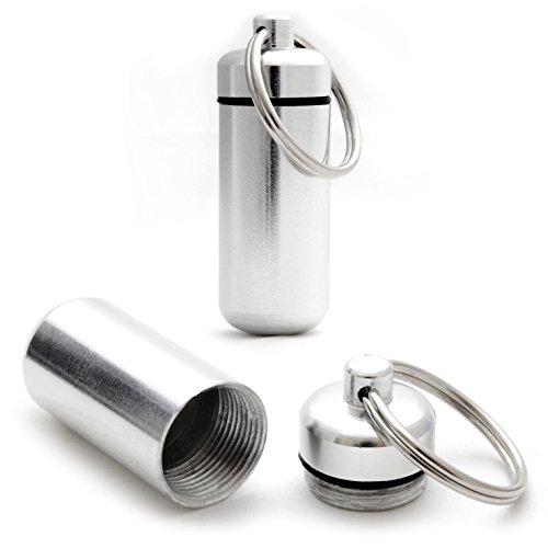 Capsule étanche pour conserver des petits objets (billets, clés usb), pilulier, capsule en porte-clé avec un capuchon dévissable et un joint en caoutchouc, hauteur: 45mm, matériau: aluminium, couleur: argent, de la marque Ganzoo – lot de 2 capsules