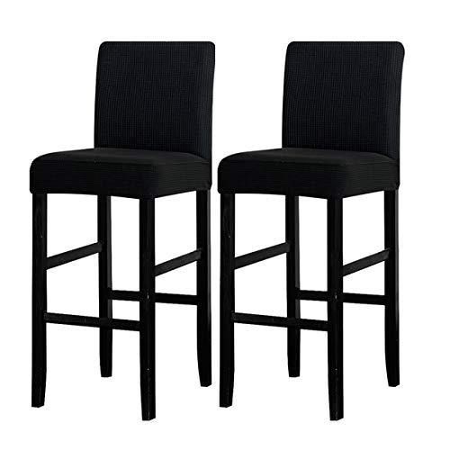 LANSHENG Bar Stuhlhussen, Stretch Abnehmbarer waschbarer Stuhl Schonbezug für Short Swivel Dining Chair Rückenlehne Barhocker Stuhl (Schwarz,2 Stück)