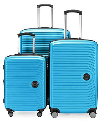 Hoofdkoffer - midden - 3-delige kofferset - cabinetrolley 55 cm, middelgrote koffer 68 cm + grote reiskoffer 77 cm, harde schaal ABS, TSA, cyaanblauw