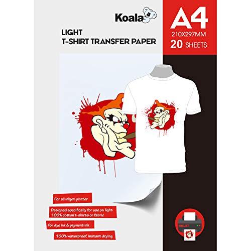 KOALA Inkjet Transferpapier zum Aufbügeln für helles und weißes T-Shirt/Textilien, DIN A4, 20 Blatt. Für Tintenstrahldrucker