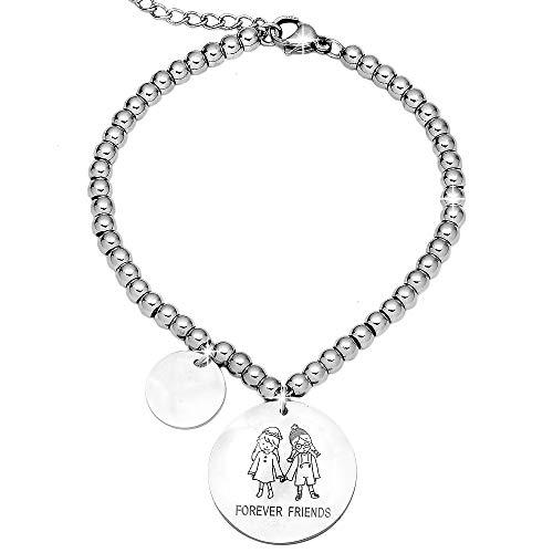 Beloved Bracciale da donna, braccialetto in acciaio emozionale - frasi, pensieri, parole con charms - ciondolo pendente - misura regolabile - incisione - argento (MOD 5)