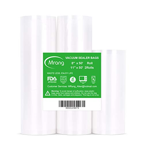 Vakuumiergerät Folienrollen 28CM x 1500CM 2Rolls + 20CM x 1500CM 1Roll Vakuumierbeutel für Lebensmittel, Handelsübliche Qualität, BPA-frei, Pannenschutz, ideal für die Vakuumlagerung