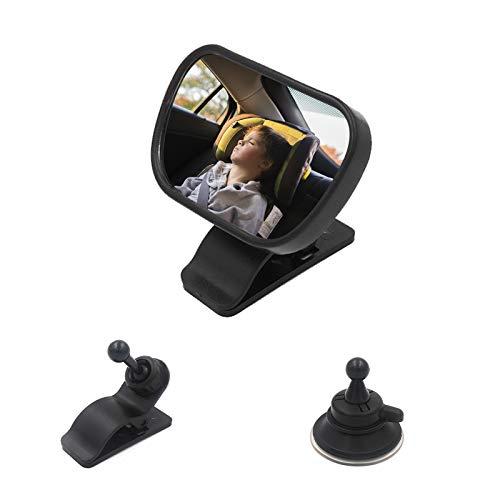 Espejo Retrovisor Coche, Bebé Espejo Retrovisor, 360°Ajustable Espejo con Clip y con Ventosa, para Vigilar al Bebé en Coche, Puede fijarse al parabrisas o engancharse al parasol