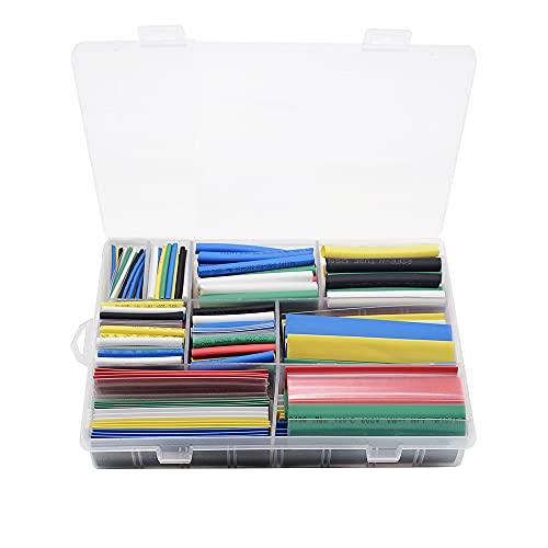 Cable Sleeves,Cubre Cables 385 unids Tubo de encogimiento térmico 2: 1 Conjunto...