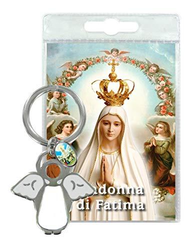 Ferrari & Arrighetti Llavero ángel con medallita y oración de la Virgen de Fátima - en Italiano