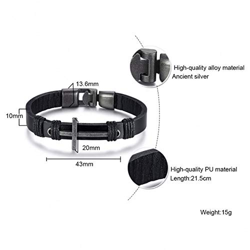 WXYBF Herenarmband, handgemaakte lederen armband voor mannen, bundel touw, parels, meerdere lagen casual jewels