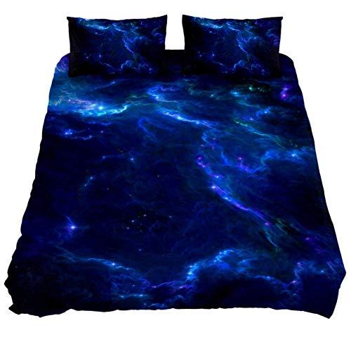 Juego de funda de edredón con diseño de nebulosa azul, suave, 3 piezas, tamaño individual con 2 fundas de almohada, hipoalergénico, suave y cómoda cremallera