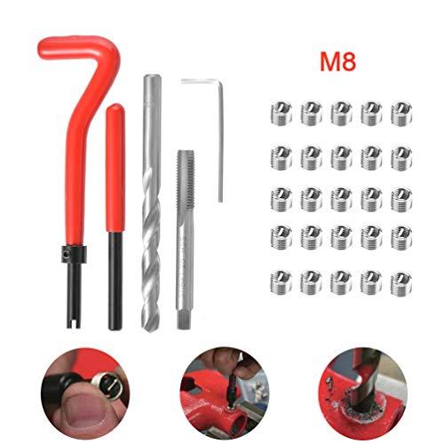 30 Stück Gewindereparatur Drahteinsatz Kit, Auto Helical Coil Reparatur-Set (M8 x 1.25mm)