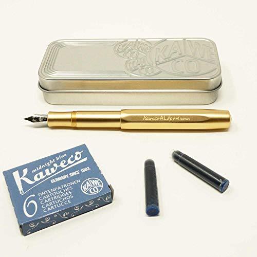 Kaweco Al SPORT Füllfederhalter Gold Edition | Füllhalter mit Feder M | Kaweco Set mit 6 blauen Füller Tintenpatronen GRATIS