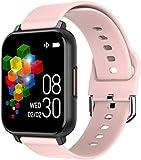 Reloj inteligente de 1 pantalla fina y ligera de 3 pulgadas, recordatorio de llamadas de larga duración para Android y iOS, color rosa