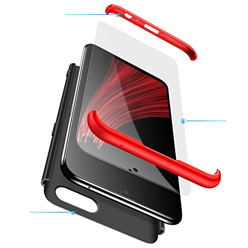 MEVIS Oppo F3 Plus Hülle,360 Grad hülle Fullbody case+(1*Hartglas Glasfilm Schutzfolie) 3 in 1 Ultra dünner pc Hardcase Scratch & Shockproof-Rot schwarz