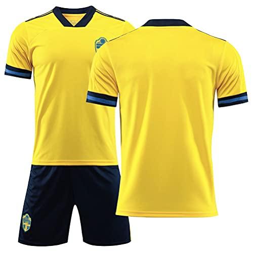 2021 Suecia National Team Football Jersey, European Cup Home and Away Jersey para Estudiantes de Escuela Primaria Adultos Jersey de fútbol de Manga Corta Jersey Jers yellow-18