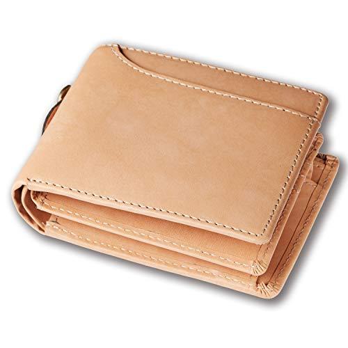 Healthknit (ヘルスニット) 財布 二つ折り財布 大容量 ボンテッドレザー メンズ ベージュ