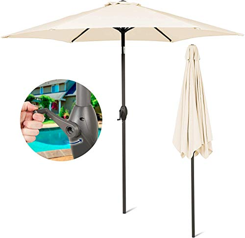 SUNMER 2.7M Ivory Parasol Garden Umbrella Sun Shading Polyester 180 G/m² UV Proof 30+Crank Mechanism Pole Width 38 Mm (NOT Include Base,) (Ivory)