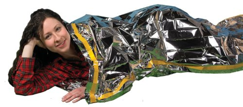 Grizzly Gear Emergency Thermal Sleeping Bags (2 Pack) Weatherproof Mylar Disaster Survival Bivouac   7 ft x 3 ft   Compact Lightweight Shelter Signal Reflective Utility   Premium Prepper