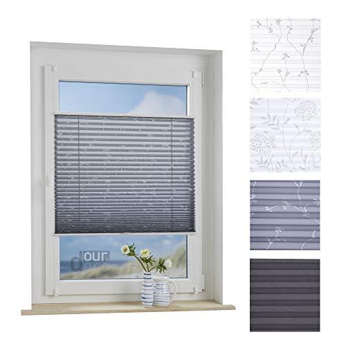 ourdeco® Plissee / 80 x 130 cm Grau, bedrucktes Blumenmotiv Ranke/lichtdurchlässig, Blickdicht/Farbe: Grau Ranke/Klemmen=Montage ohne Bohren=Smartfix=Klemmfix-Plissee=Easy-to-fix