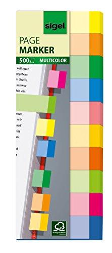 Sigel HN682 - Marcadores adhesivos para libros (500 hojas, 15 x 50 mm), multicolor