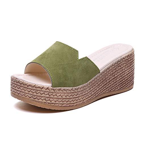 Anlemi Sandalia clásica y cómoda,Zapatillas de Plataforma de tacón Inclinado de Moda, Chanclas de tacón Alto-Verde_40,Zapatillas de Verano de tacón Plano y cómodas