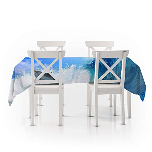 Tafelkleed rechthoekig blauw, 3D digitaal printen, Cartoon Dolphin, Duurzaam tafelkleed Polyester antifouling, Kinderen waterdicht, Handwas Geschikt voor keuken