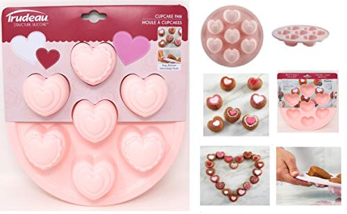 """Trudeau 9'' Structure Round Cake Heart 6 Ct Muffin Pan, 9"""", pink"""