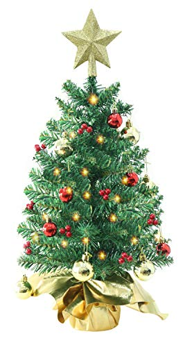 Liecho 24 Inch Tabletop Mini Christmas Tree Miniature Pine Christmas Tree with Hanging Ornaments Battery Operated Artificial Xmas Tree Best DIY Christmas DecorationsGold