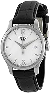 Tissot Tradition Women's Silver Leather Band Watch - Analog Display, Quartz Movement T063.210.16.3747.83