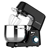 Kuccu Stand Mixer, 8 Qt 660W, 6-Speed Tilt-Head Food Dough Mixer, Electric Kitchen Mixer with Dough Hook, Flat Beater & Wire Whisk, Mixing Bowl (8-QT, Black)