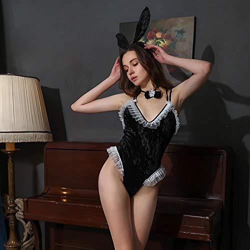 YINSHENG Pijamas de Ropa Interior de Mujer camisón Pijamas de Enagua Vestido Casual de Encaje Sexy lencería Sexy conejita Francesa lencería Sexy Uniforme de Cosplay Orejas de Encaje de Conejo ro