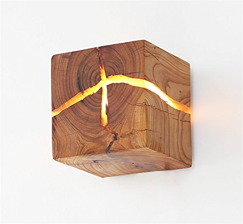 PLYY [Zerbrochene hölzerne Wandlampe ursprüngliches kreatives Festholz LED Nachttischlampengang...