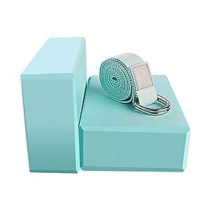 Yoga Blocks 2 Pack Set - (Yoga Brick with 1 Yoga Strap) High Density Soft Non-Slip