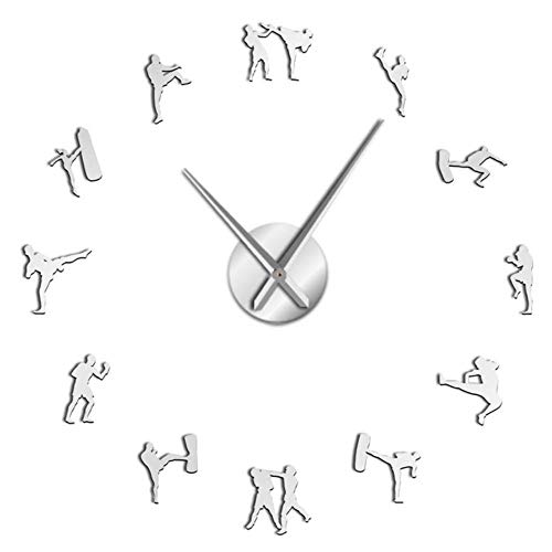 LHSX Kickboxing Karate Guys Large Wall Clocks Modern Decoration Acrylic,Silver,37inch