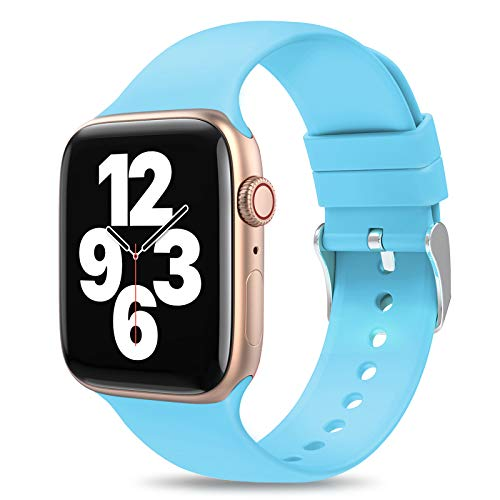 JINGMAX Sport Watch Band Compatible with apple watch bands 38mm 40mm 42mm 44mm for women men, Soft Silicone Strap Replacement Wristband for iwatch Series SE/6/5/4/3/2/1