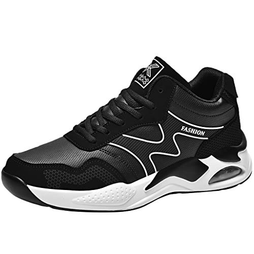 Gaowen Couple Air Cushion Damping Sports Shoes Men Fly Woven Breathable Casual Stability Flat Sneakers (White, 11)
