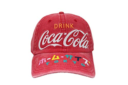 AMERICAN NEEDLE Coca Cola Carter Washed Slouch Adjustable Buckle Hat (COKE-1911A-RED)