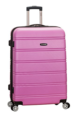 Rockland Melbourne Hardside Expandable Spinner Wheel Luggage, Pink, Checked-Large 28-Inch