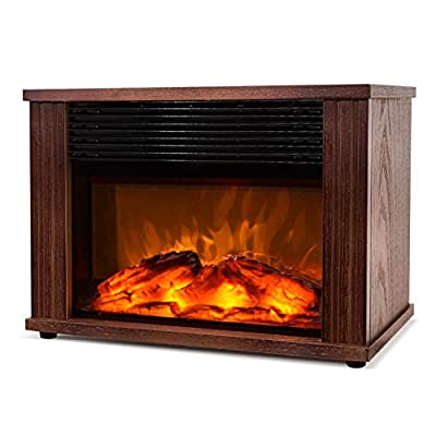 DONYER POWER 1500W Mini Electric Fireplace Tabletop Portable Heater,14'' (Wood Color)
