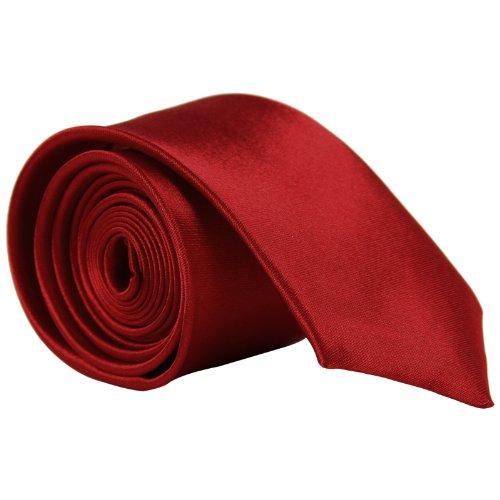 CellDeal- Cravate Homme Mince De Couleur Solide Pour Mariage Rouge