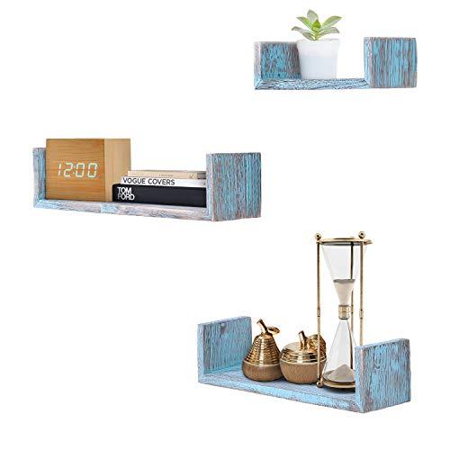 Comfify Rustikales Schweberegal in U-Form im Vintage Design - 3er-Set - Schrauben und Dübel inklusive - Landhaus Holzregale für Schlafzimmer, Wohnzimmer und mehr - Rustikales Design - Blau
