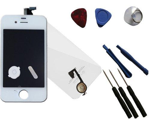 Set completo (LCD + retrocover) di ricambio per Apple iPhone 4 4S bianco – Kit di conversione di alta qualità per Apple iPhone 4 4S – Nuovo display di ricambio schermo di ricambio in vetro touch screen di alta qualità con tasto Home + attrezzi e protezione antipolvere