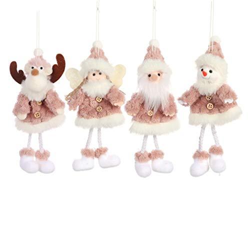 4pcs Año Rosa felpa ornamento de navidad lindo muñeco de nieve Elk Navidad de la felpa colgante del árbol de...