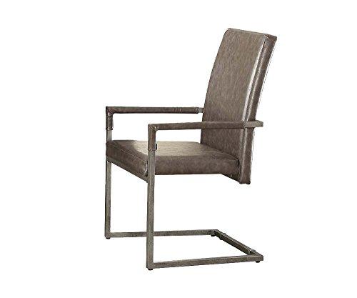 ACME Furniture 73112 Lazarus Arm Chair, Set of 2, Gray PU