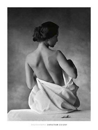 empireposter Coigny, Christian - Modesty schwarz-weiß - Kunstdruck Artprint Erotik Gemälde - Grösse 60x80 cm + 2 St Posterleisten Alu 63 cm