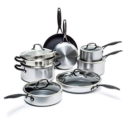 GreenPan Venice Pro Noir Stainless Steel Healthy Ceramic Nonstick, Cookware Pots and Pans Set, 13-Piece, Silver